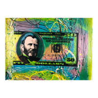 """Steve Kaufman Signed """"50 Dollar Bill"""" Limited Edition 17x24 Hand Pulled Silkscreen Mixed Media on Canvas at PristineAuction.com"""