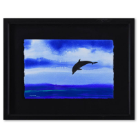 """Wyland Signed """"Pacific"""" 33x25 Custom Framed Original Watercolor Painting at PristineAuction.com"""