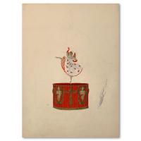 """Erte Signed """"Jouets, la boite a musique"""" 10x14 Original Gauche Painting at PristineAuction.com"""