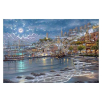 "Robert Finale Signed ""San Fran Moonlit Bay"" Artist Embellished Limited Edition 12x18 Giclee on Canvas at PristineAuction.com"