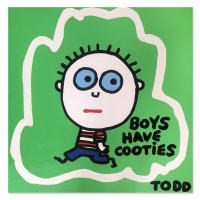 """Todd Goldman Signed """"Boys Have Cooties"""" 36x36 Original Painting on Canvas at PristineAuction.com"""
