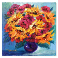 """Yana Korobov Signed """"Enchanted by Flowers"""" 24x24 Original Acrylic Painting on Canvas at PristineAuction.com"""