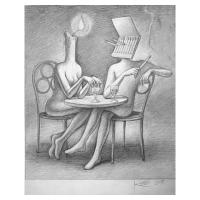 "Mark Kostabi Signed ""The Perfect Match"" 14x11 Original Artwork at PristineAuction.com"