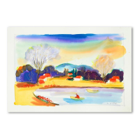 Moshe Leider Signed 22x15 Original Watercolor Painting at PristineAuction.com