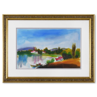 Moshe Leider Signed 24x18 Custom Framed Original Mixed Media Watercolor Painting at PristineAuction.com