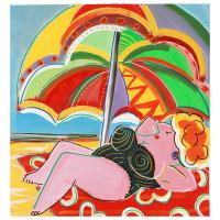 "Rina Maimon Signed ""Sun Bathing "" 21x20 Original Acrylic Painting on Canvas at PristineAuction.com"