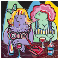 """Rina Maimon Signed """"Girlfriends """" 35x35 Original Acrylic Painting on Canvas at PristineAuction.com"""
