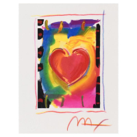 """Peter Max Signed """"Heart Series I"""" Limited Edition 18x19 Custom Framed Lithograph #119/300 at PristineAuction.com"""