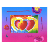 """Peter Max Signed """"Two Hearts on Blends"""" Limited Edition 26x30 Custom Framed Lithograph #446/500 at PristineAuction.com"""