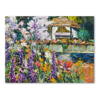 """Henri Plisson Signed """"The Gazebo"""" Hand Embellished Limited Edition 33x25 Giclee on Canvas #7/75 at PristineAuction.com"""