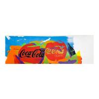 """Steve Kaufman Signed """"Coca-Cola Tops"""" Limited Edition 13x41 Hand Pulled Silkscreen Mixed Media on Canvas at PristineAuction.com"""