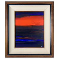 """Wyland Signed """"Fire Sky"""" 30x26 Original Painting on Board Custom Framed with Koa Wood at PristineAuction.com"""