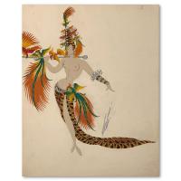 """Erte Signed """"Deuxieme porteuse d'oiseaux"""" 10x14 Original Gauche Painting at PristineAuction.com"""
