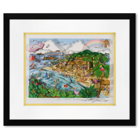 """Charles Fazzino Signed """"Our Caribbean Vacation"""" 3D Limited Edition 20x17 Custom Framed Silk Screen, DX #116/350 at PristineAuction.com"""