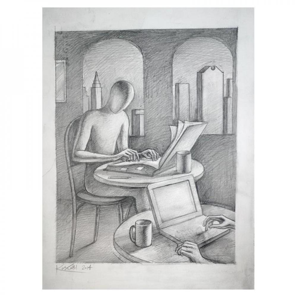 "Mark Kostabi Signed ""It's All a Blur"" 15x11 Original Artwork at PristineAuction.com"
