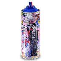 """Mr. Brainwash Signed """"Gold Rush (Blue)"""" Limited Edition Hand Painted Spray Can #125/150 with Thumbprint at PristineAuction.com"""