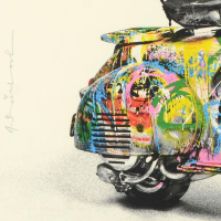 """Mr. Brainwash Signed """"Vespa (Small)"""" Limited Edition 38x30 Custom Framed Silk Screen PP #2/5 at PristineAuction.com"""