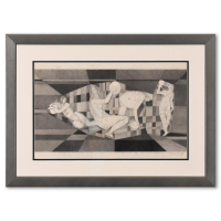 Neal Doty Signed 29x21 Custom Framed Original Drawing at PristineAuction.com