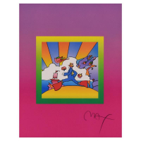 """Peter Max Signed """"Cosmic Runner on Blends Ver II"""" Limited Edition 25x29 Custom Framed Lithograph #442/500 at PristineAuction.com"""