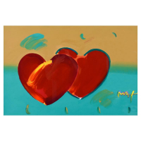"""Peter Max Signed """"Two Hearts As One"""" 46x34 Custom Framed One-Of-A-Kind Acrylic Mixed Media at PristineAuction.com"""