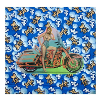 """Steve Kaufman Signed """"Biker Gal"""" Limited Edition 21x21 Hand Pulled Silkscreen Mixed Media on Canvas at PristineAuction.com"""