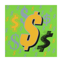 """Steve Kaufman Signed """"Dollar Signs (Green Italic)"""" Limited Edition 24x24 Hand Pulled Silkscreen on Canvas #29/50 at PristineAuction.com"""