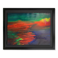 """Wyland Signed """"Abstract"""" 30x37 Custom Framed Original Watercolor Painting at PristineAuction.com"""