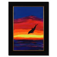 "Wyland Signed ""Sunset Encounters"" 31x43 Custom Framed Original Acrylic Painting on Masonite at PristineAuction.com"
