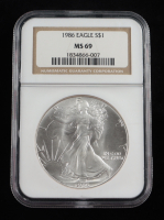 1986 American Silver Eagle $1 One Dollar Coin Silver Eagle (NGC MS69) at PristineAuction.com