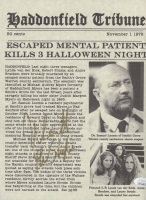 """Nick Castle Signed """"Halloween"""" 8.5x11 Newspaper Print Inscribed """"The Shape"""" (JSA COA) at PristineAuction.com"""