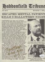 "Tom Morga Signed ""Halloween"" 8.5x11 Newspaper Print Inscribed ""Michael Myers"" & ""H-4"" (JSA COA) at PristineAuction.com"