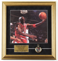 Michael Jordan 17x18 Framed Photo Display With Wilson Pocket Watch at PristineAuction.com