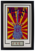 1969 Woodstock 16x23 Custom Framed Poster Display with Original 3 Day Ticket at PristineAuction.com