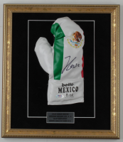 Julio Cesar Chavez Signed 14x16 Custom Framed Mexican National Boxing Glove Display (PSA COA) at PristineAuction.com