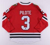 "Pierre Pilote Signed Black Hawks Jersey Inscribed ""H.O.F. 75"" (COJO COA) at PristineAuction.com"