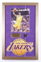 Kobe Bryant 15x23.5 Framed Photo Display With Los Angeles Lakers Emblem and Offical KB Commemorative Pin at PristineAuction.com