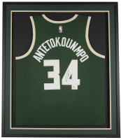 Giannis Antetokounmpo Signed Bucks 32x36 Custom Framed Swingman Jersey Display (Beckett COA) at PristineAuction.com