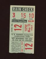 Authentic 1967 Original Rain Check Ticket Stub at PristineAuction.com