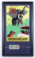 Disney World Jungle River Adventureland 15x26 Custom Framed Photo Display With an Official vintage Disney World Pin & Ticket Book at PristineAuction.com