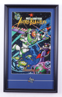 """Disneyland's """"Buzz Lightyear Astro Blasters"""" 15x24 Print Display with Buzz Lightyear Astro Blasters Official 2005 Opening Ride Pin at PristineAuction.com"""
