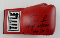 """George Foreman Signed Title Boxing Glove Inscribed """"HOF 2003"""" & """"76-5 68 KO's"""" (Beckett COA) (See Description) at PristineAuction.com"""