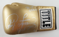 """George Foreman Signed Gold Title Boxing Glove Inscribed """"76-5 68 KO's"""", """"HOF 2003"""", """"1 / 1"""" (Beckett COA) at PristineAuction.com"""