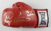 """George Foreman Signed Title Boxing Glove Inscribed """"76-5 68 KO's"""" (Beckett COA) at PristineAuction.com"""
