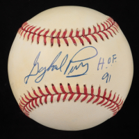 """Gaylord Perry Signed ONL Baseball Inscribed """"H.O.F. 91"""" (JSA COA) (See Description) at PristineAuction.com"""