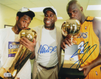 Magic Johnson & Shaquille O'Neal Signed Lakers 11x14 Photo (Beckett Hologram) at PristineAuction.com