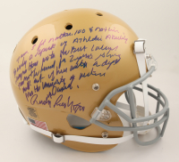 Rudy Ruettiger Signed Notre Dame Fighting Irish Full-Size Helmet with Extensive Inscription (Beckett COA) (See Description) at PristineAuction.com