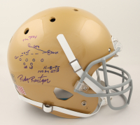 """Rudy Ruettiger Signed Notre Dame Fighting Irish Full-Size Helmet Inscribed """"The Play"""" & """"11-8-75, ND 24, GT 3"""" with Hand-Drawn Play (Beckett COA & Ruettiger Hologram) at PristineAuction.com"""