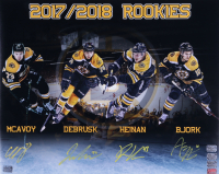Bruins 16x20 Photo Signed by (4) with Jake DeBrusk, Anders Bjork, Charlie McAvoy & Danton Heinen (YSMS COA, Heinen Hologram, Bjork Hologram & DeBrusk Hologram) at PristineAuction.com