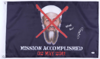 """Robert O'Neill Signed """"Mission Accomplished"""" SEAL Team Six Flag Inscribed """"Never Quit!"""" (PSA COA) at PristineAuction.com"""
