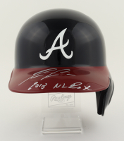 """Ronald Acuna Jr. Signed Braves Full-Size Batting Helmet Inscribed """"2018 NL ROY"""" With Display Stand (JSA COA) at PristineAuction.com"""